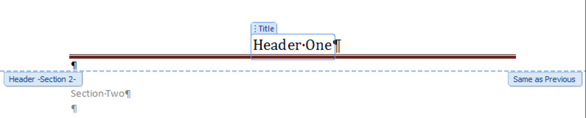 Header set to be formatted the same as the previous header in Word 2007 and Word 2010.