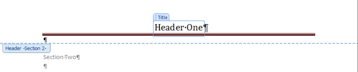 Header configured to be different to headers in other sections in Word 2007 and Word 2010.