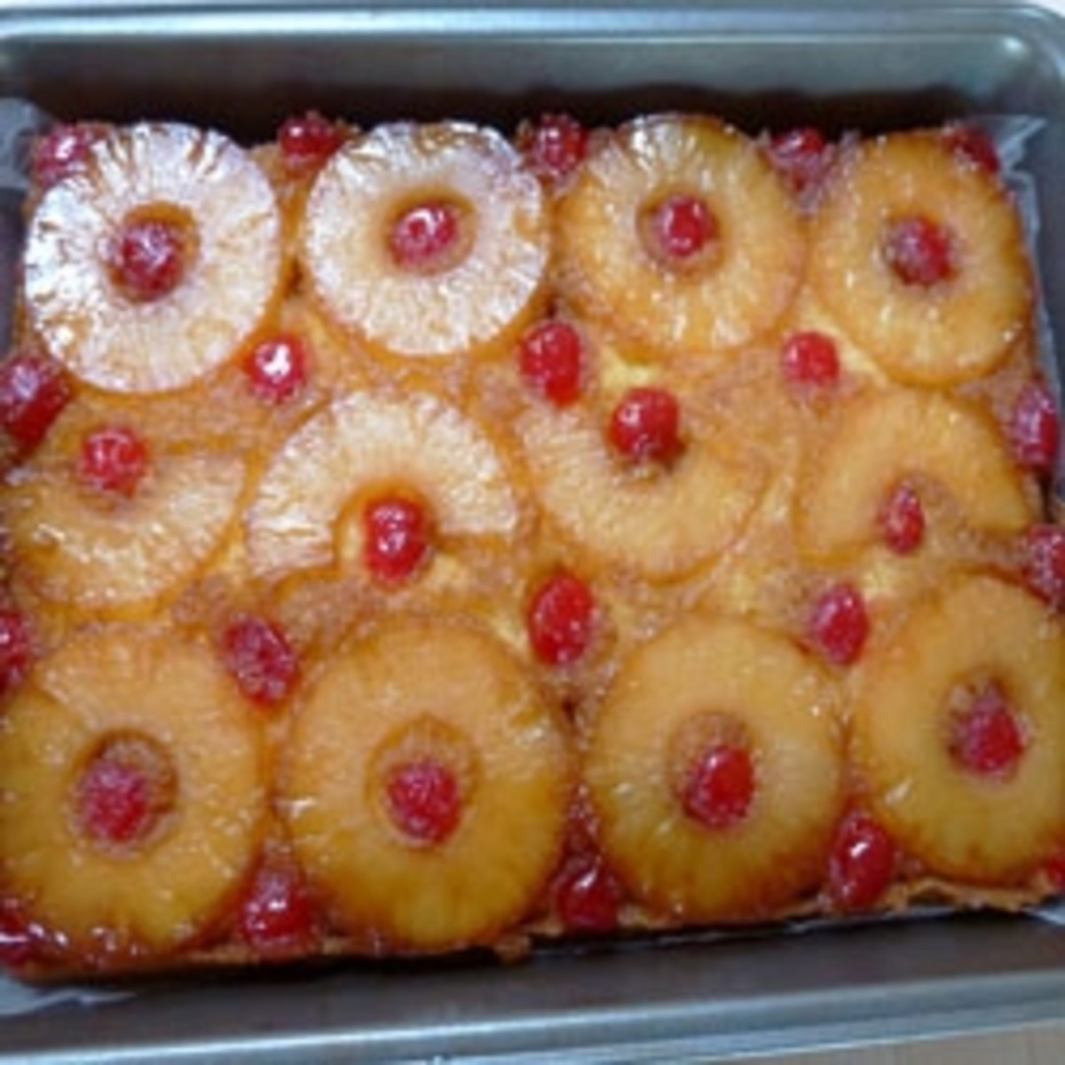 Upside-down Pineapple Cake with pudding