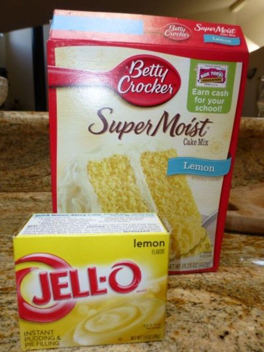 One box lemon cake mix and 3.4 oz instant lemon Jello pudding