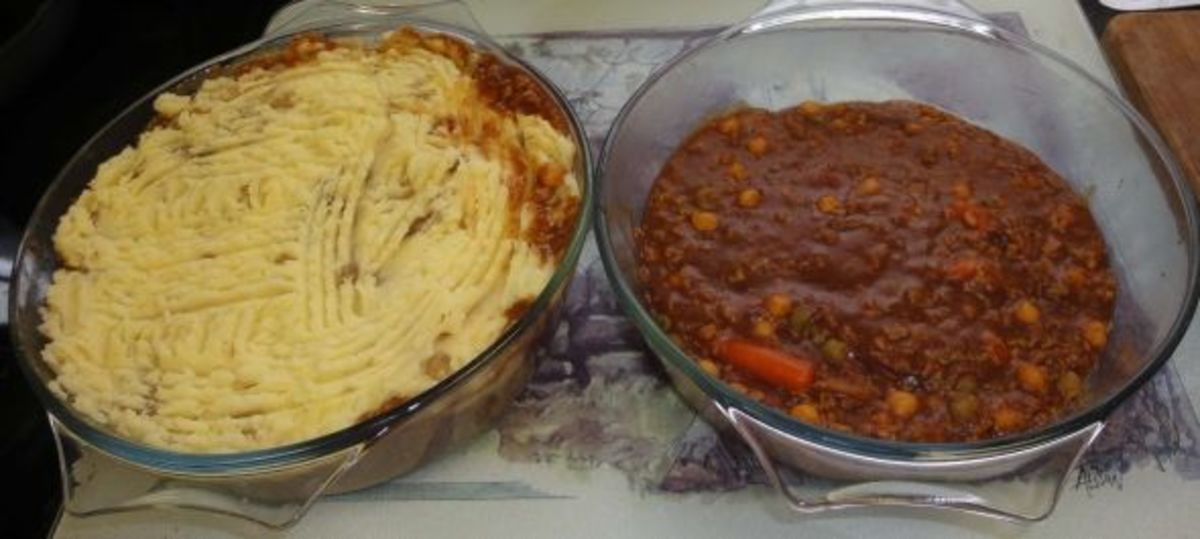 Shepherds pies in two casserole dishes