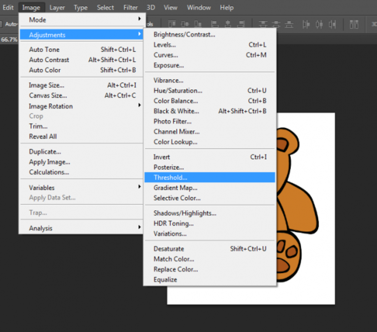 image threshold menu in photoshop