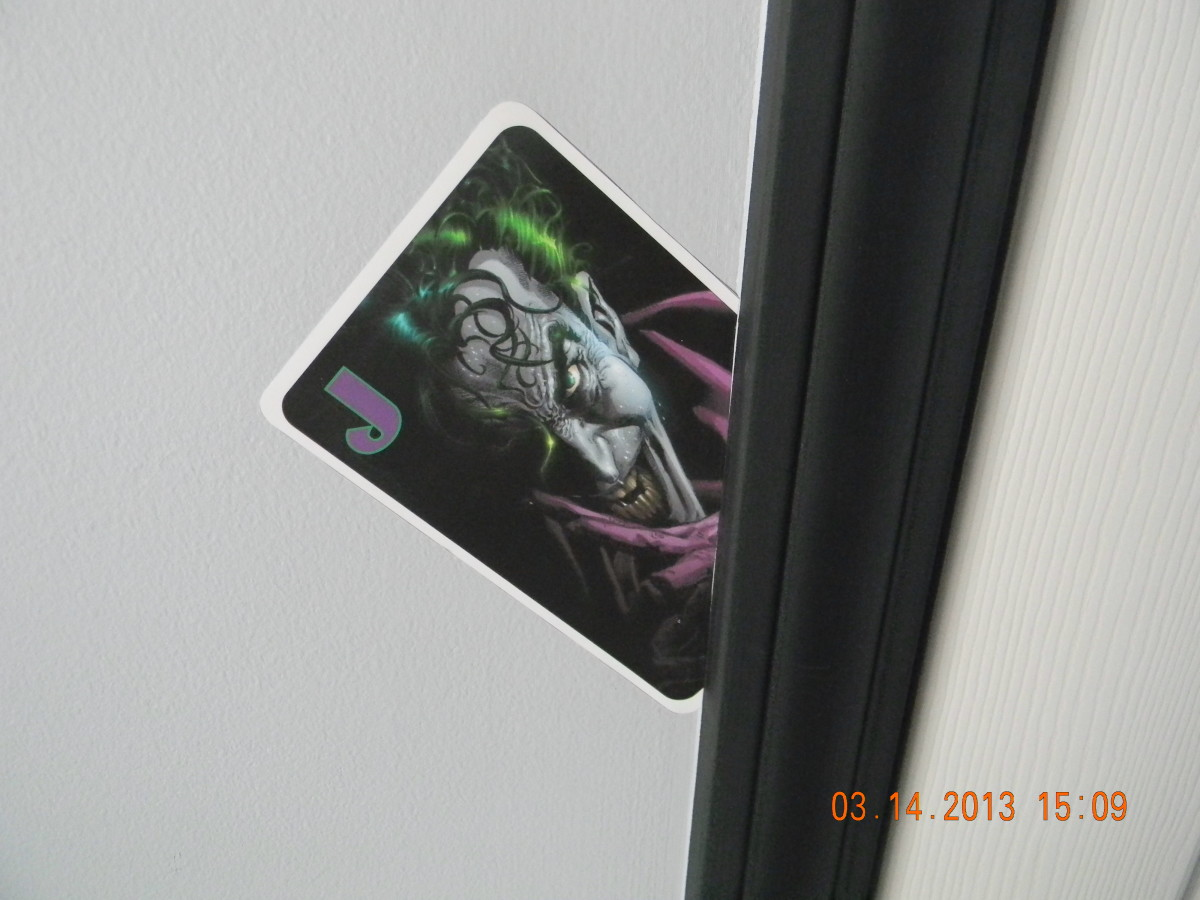 This shows the Joker card that was designed on the computer and attached using the DIF wallhanging adhesive. The calling card of the main arch enemy of Batman.