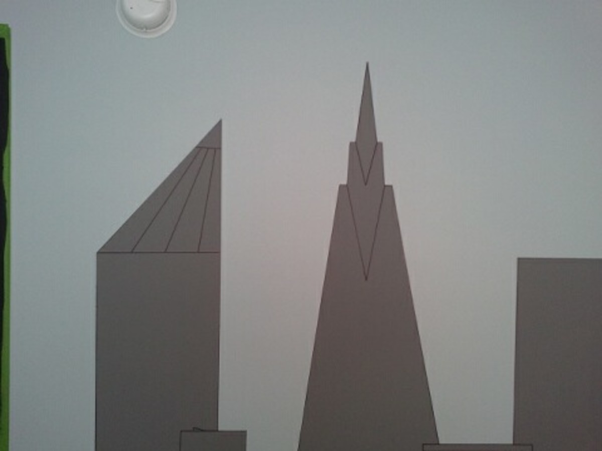 This shows a close-up of a part of the Gotham City skyline with the detail lines drawn in with a black Sharpie marker.
