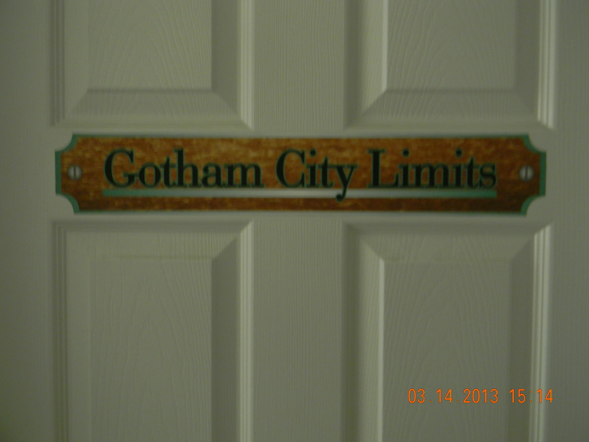 Here is the Gotham City Limits sign on the outside of the bedroom door. It was printed on indoor polypropylene and attached using DIF wallcovering adhesive.