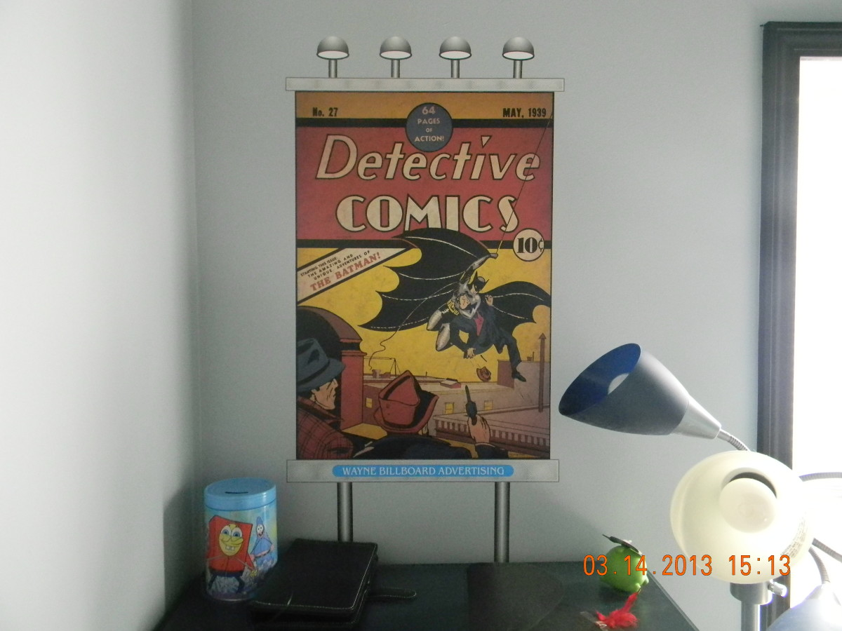 "This picture is a, oversized copy of Detective Comics issue 27, May 1939, the 1st appearance of Batman. The ""lights"", frame and posts were all design on the computer, printed on indoor polypropylene and attached using DIF wallcovering adhesive."