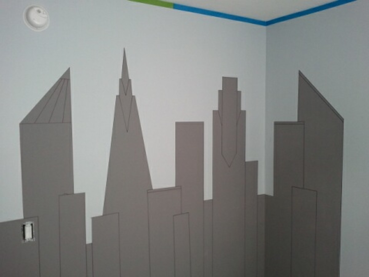 This shows the Gotham City skyline after the FrogTape was removed and after the detail lines were drawn with a black Sharpie.