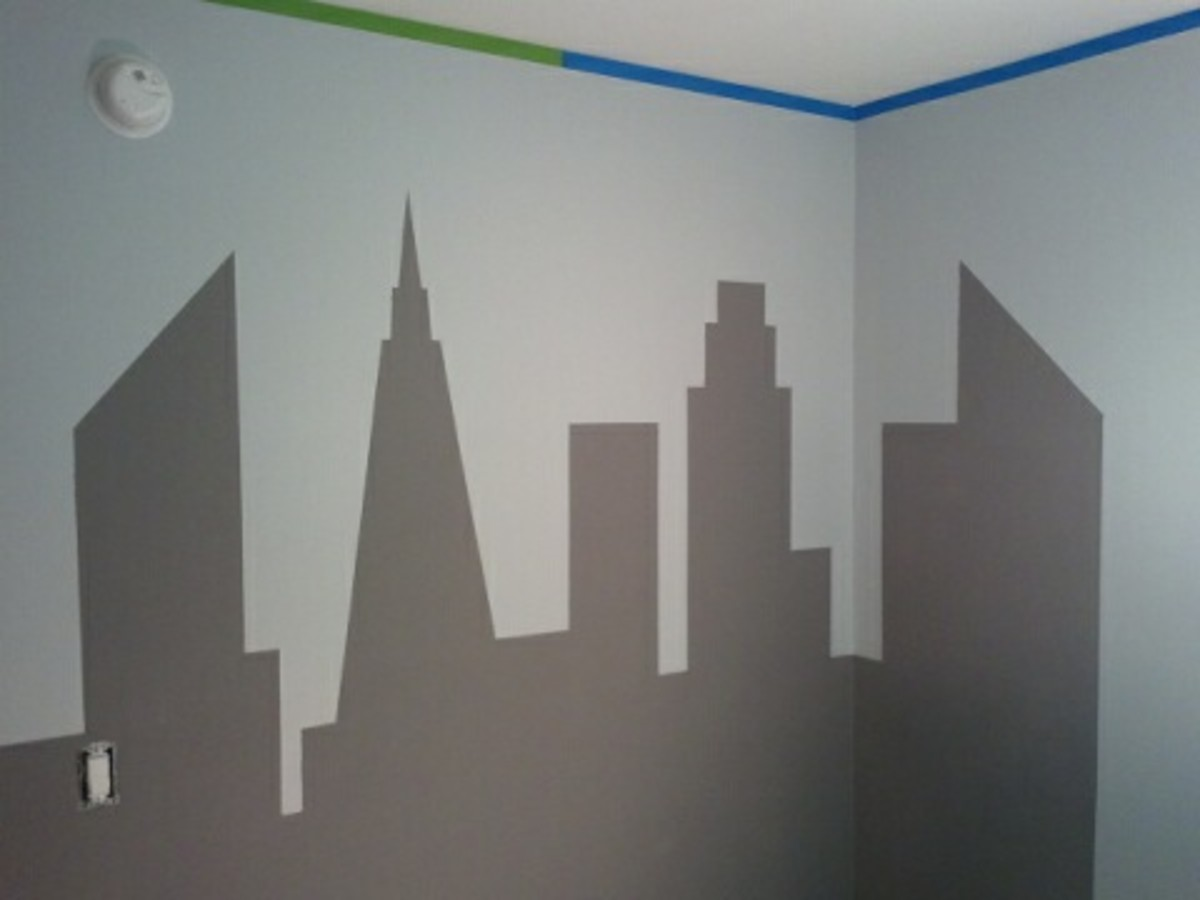 This shows the Gotham City skyline after the FrogTape was removed, but before detail lines were applied with a black Sharpie.