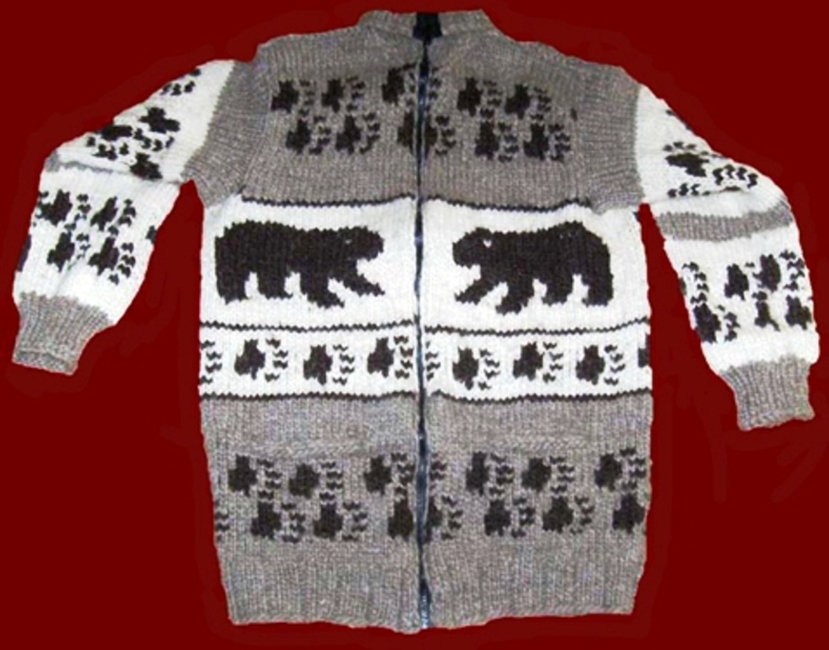 Walking Bears Cowichan sweater with charming paw prints as part of the design.