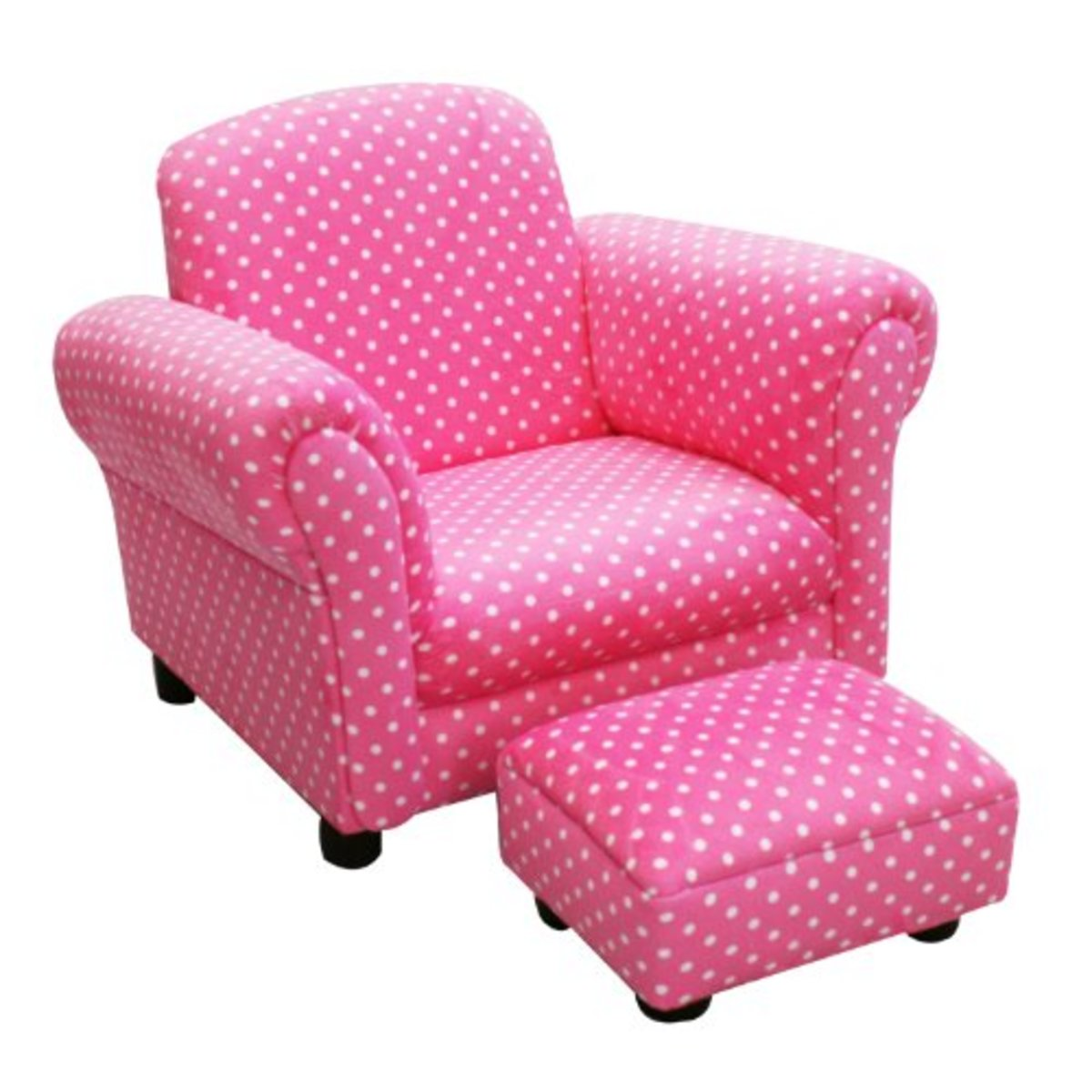 Little Girls' Pink Polka Dot Upholstered Chair and Ottoman Set