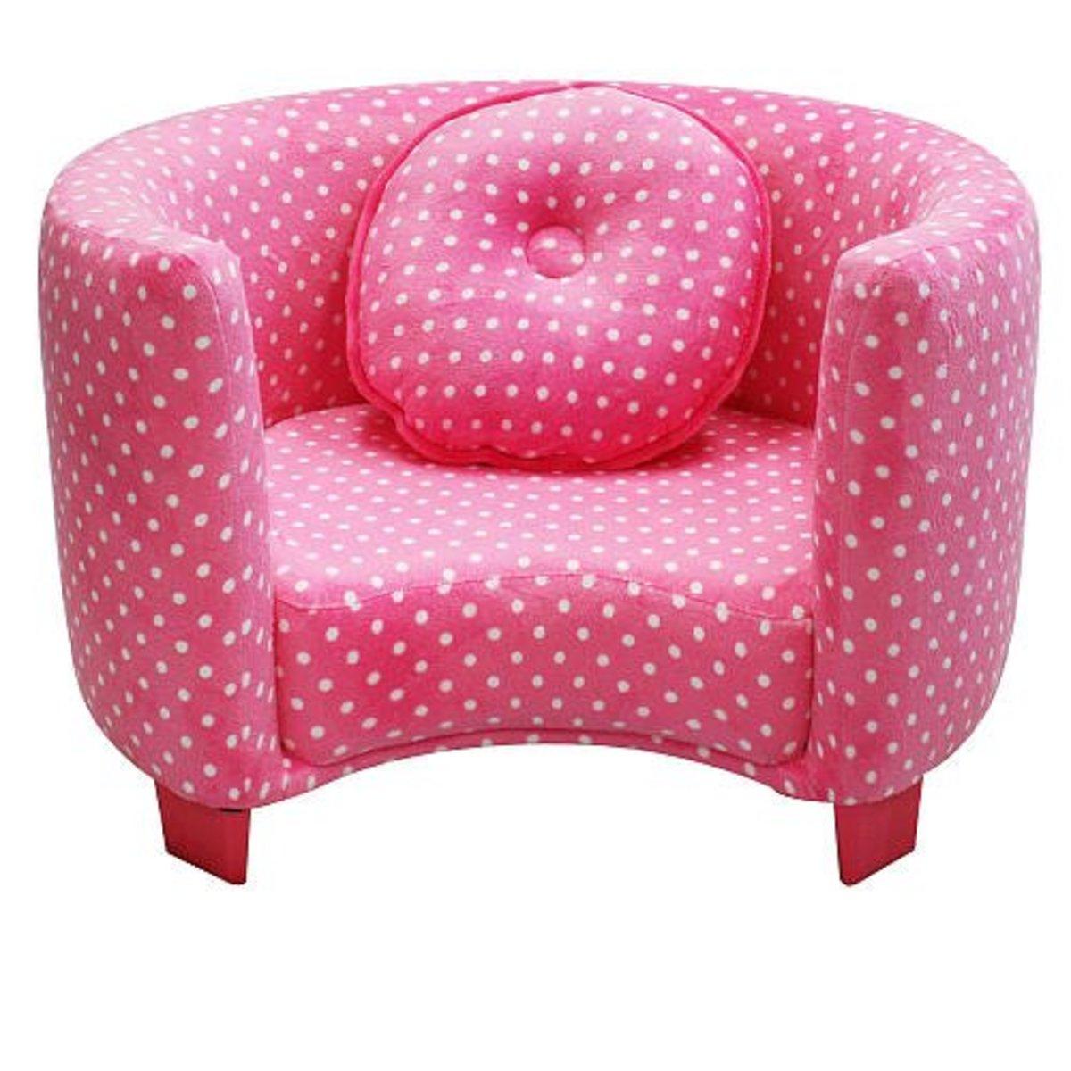Kids' Round Upholstered Pink Polka Dot Chair for Little Girls