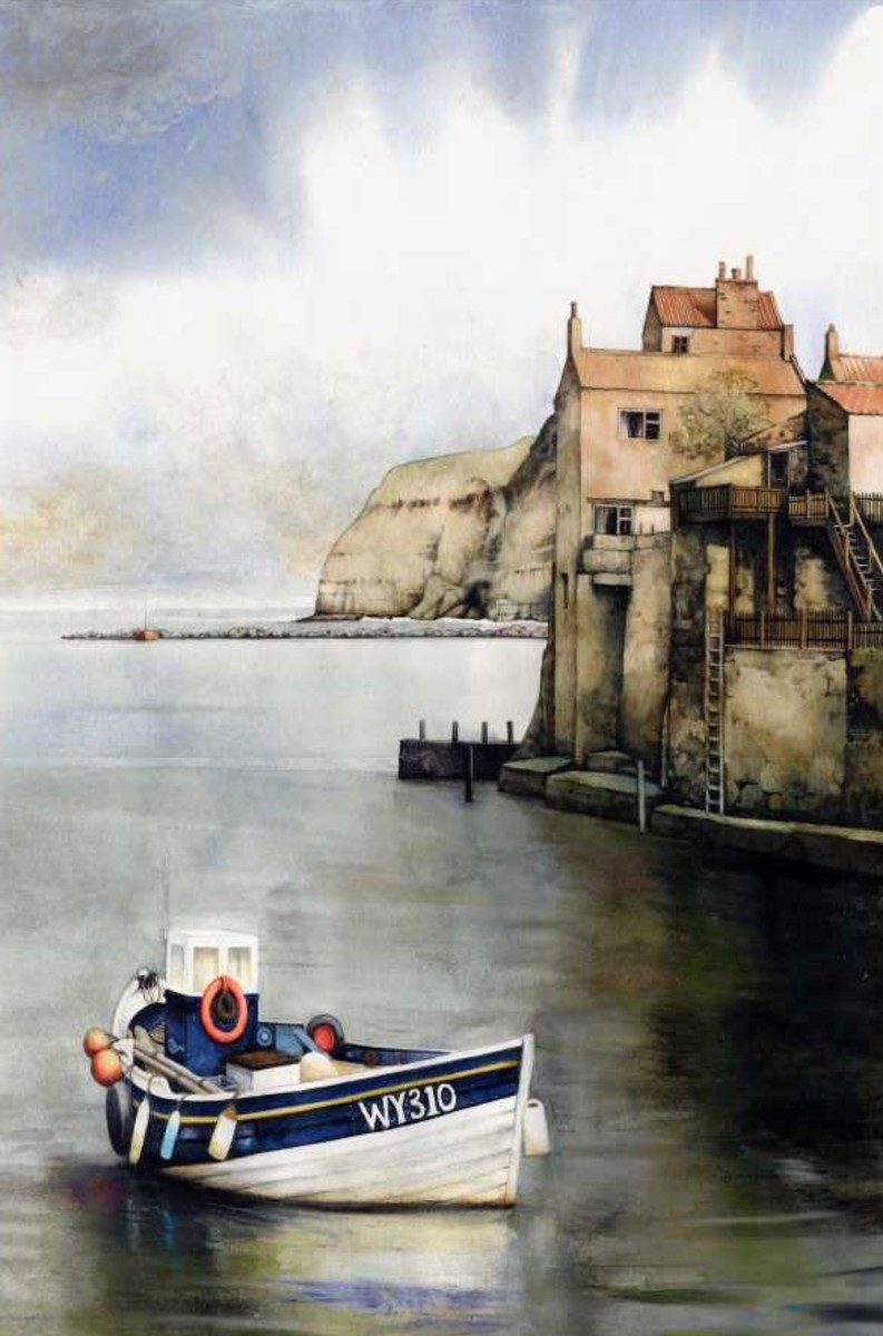 """Fishing Coble, Staithes"" watercolour by Helen Lush"