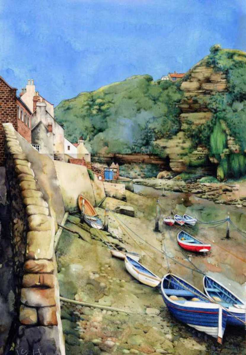 """Staithes Beck at Low Tide"" watercolour by Helen Lush"