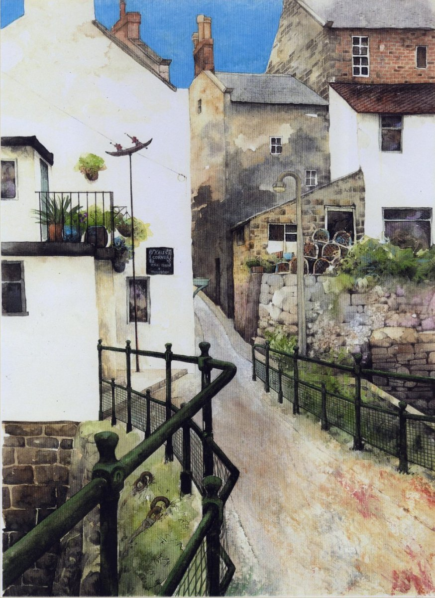 """Bridge over Staithes Beck"" watercolour by Helen Lush"