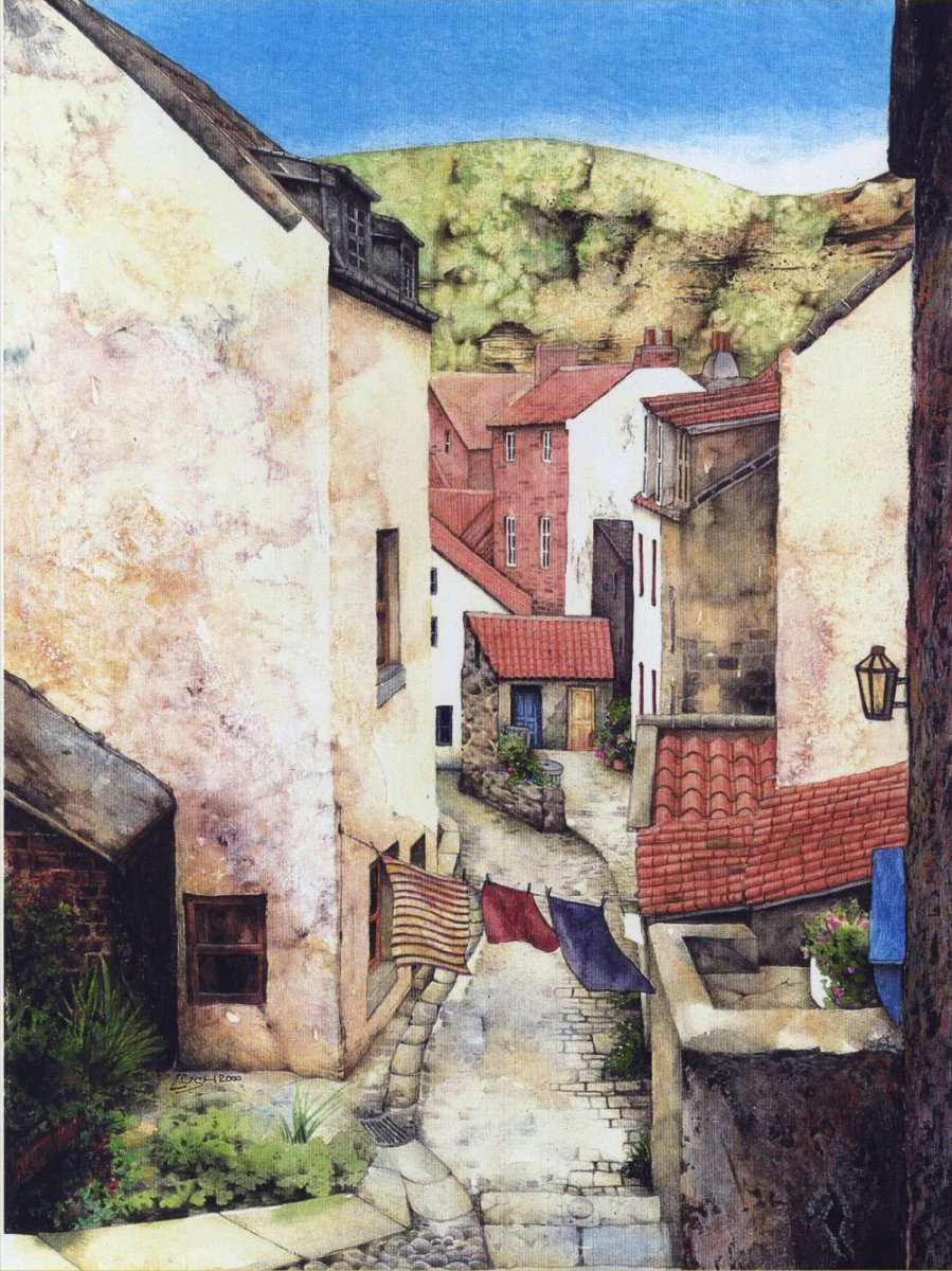 """Staithes Street"" watercolour by Helen Lush"