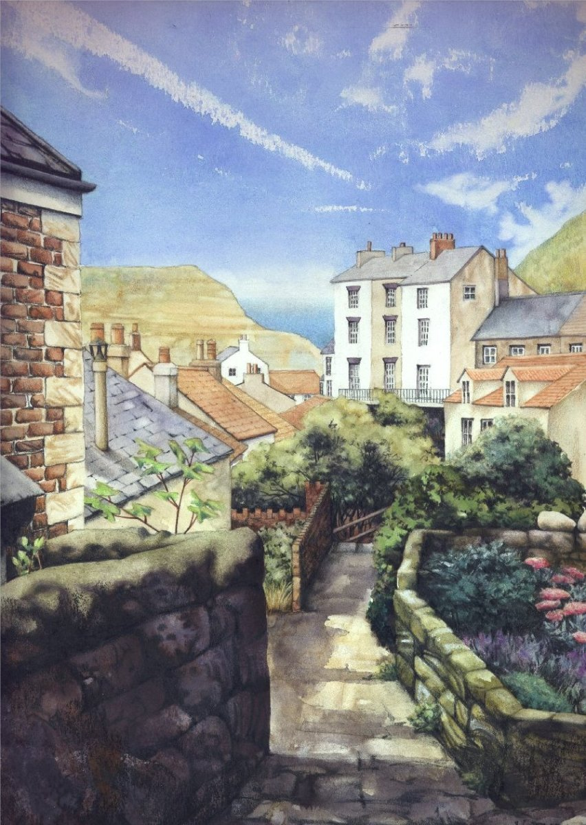 """View over Staithes' Rooftops"" by Helen Lush"