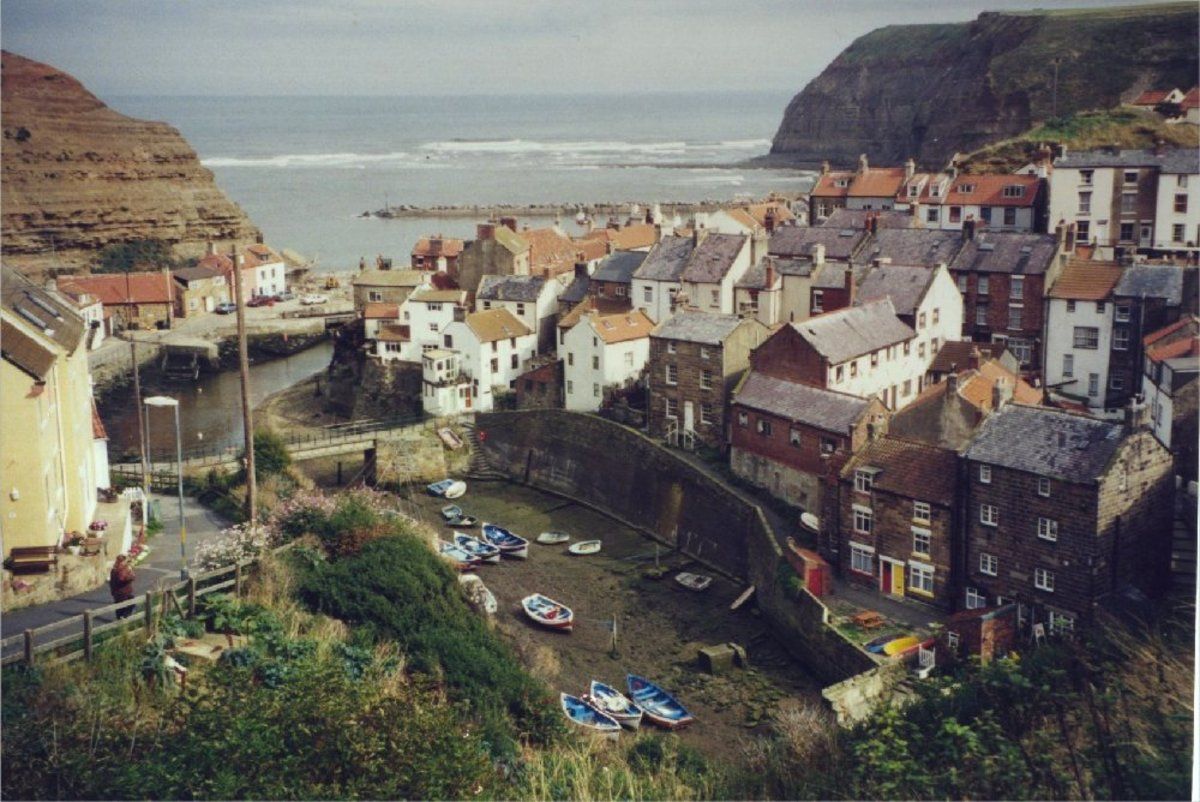 View over Staithes, low tide.