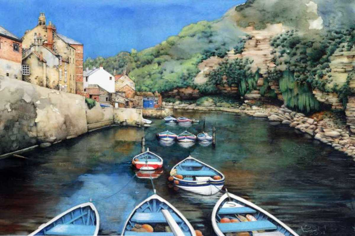 Watercolour paintings of a Yorkshire Fishing Village.