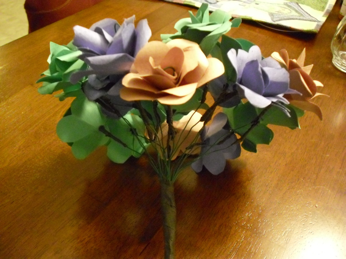 Paper flower bouquets make beautiful centerpieces.