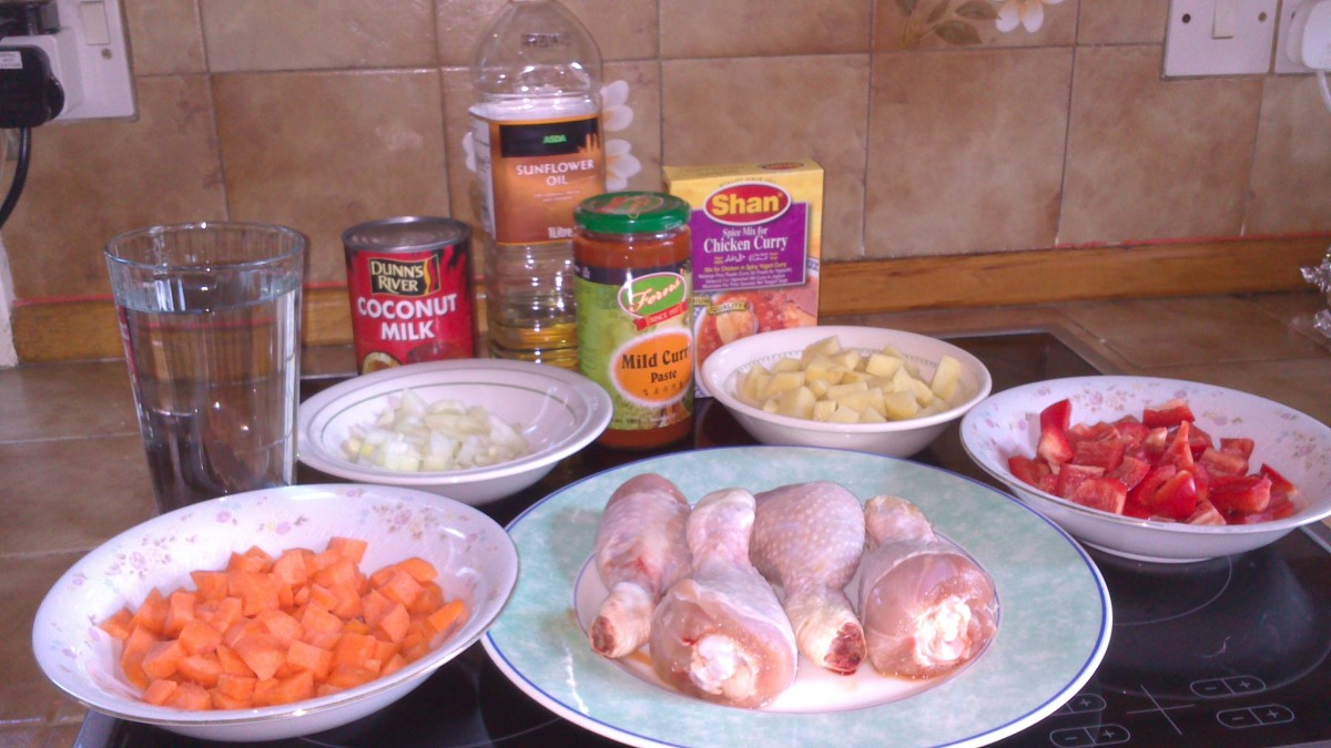 Ingredients of Filipino chicken curry