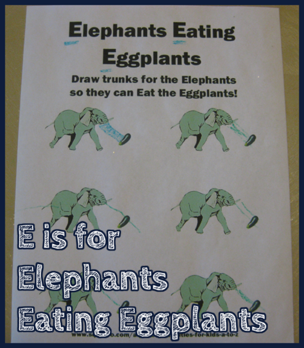 E is for Elephants Eating Eggplants Alphabet Activities for Kids