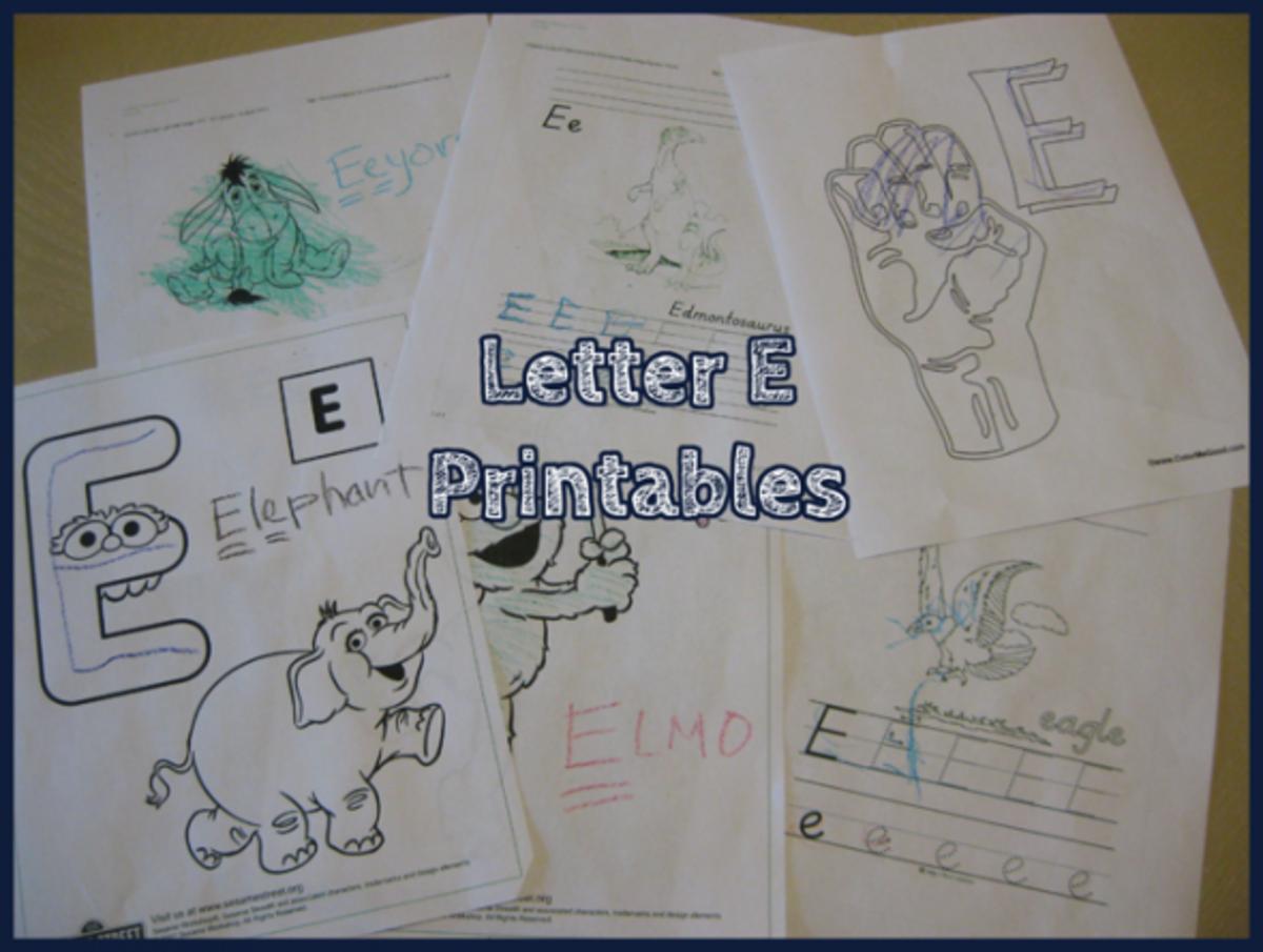 Letter E Printables
