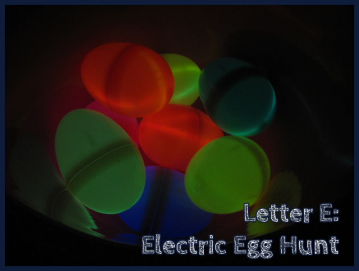 Electric Egg Hunt:  plastic Easter eggs with dollar store glow bracelets - genius!
