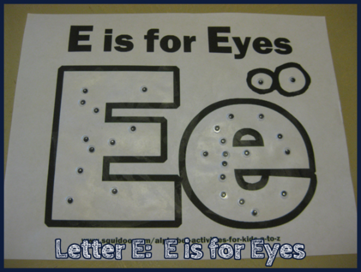E is for Eyes Alphabet Activities for Kids