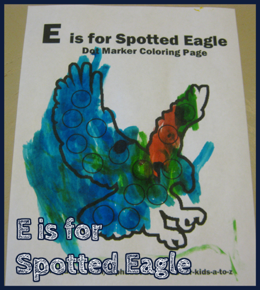 E is for Spotted Eagle Alphabet Activities for Kids