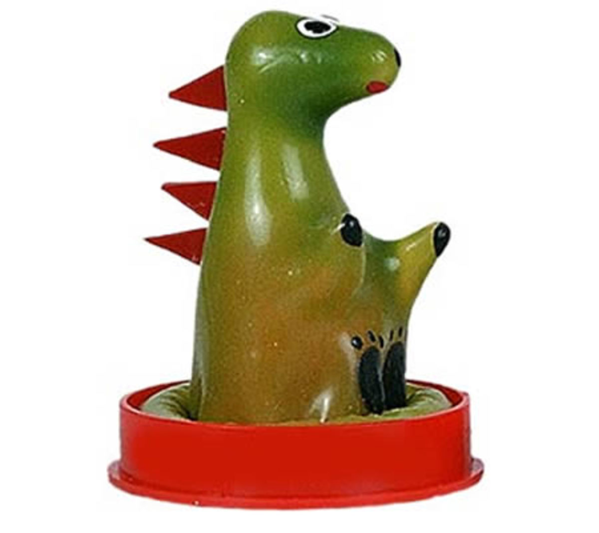 This is a genuine dinosaur condom... or a finger puppet for your Little Godzilla. You choose.