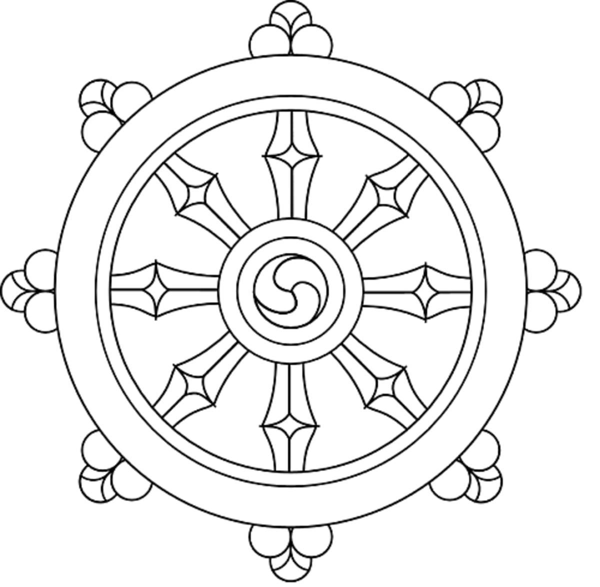 The Dharmachakra or 'Wheel of Life'.