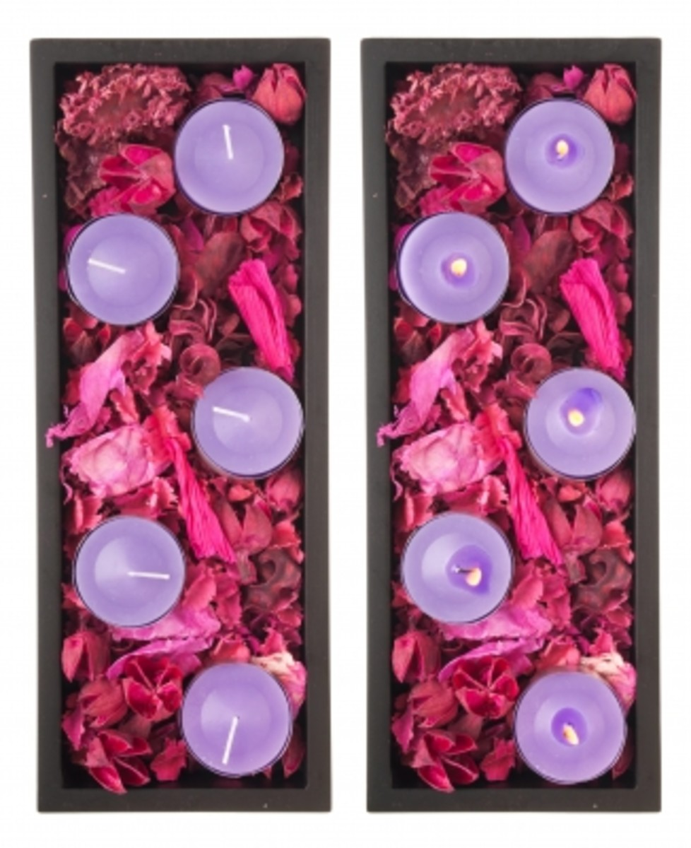 essential oils go into scented candles and potpourri.