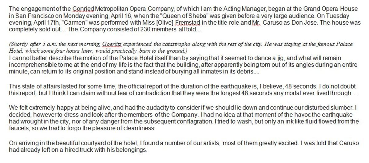 Eyewitness story by Ernest Goerlitz, Conried Metropolitan Opera company's acting manager