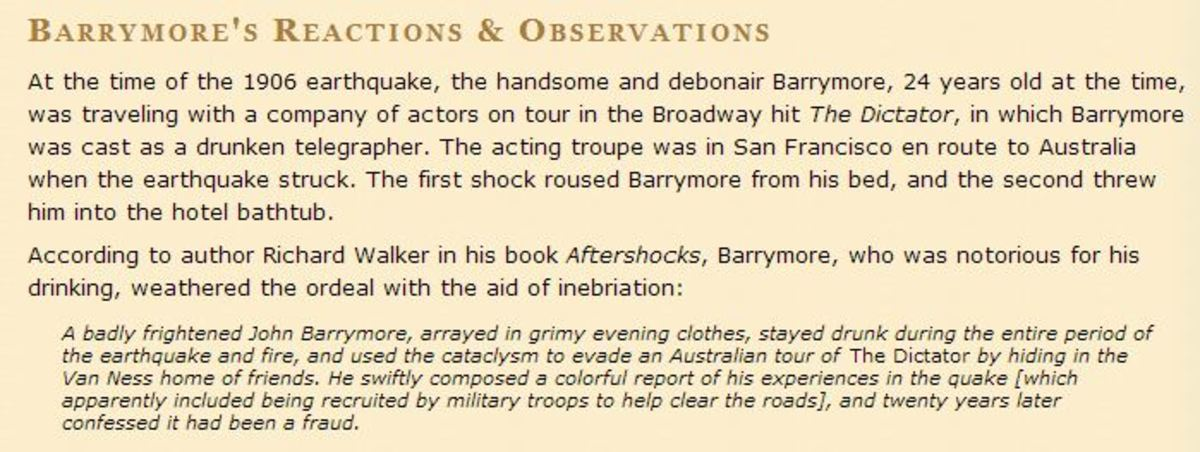 John Barrymore's statement of the earthquake