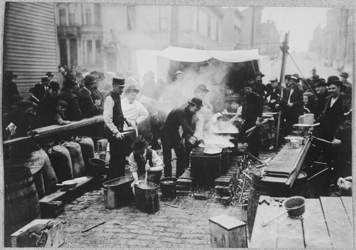 San Francisco Earthquake of 1906, Preparing hot food for the refugees