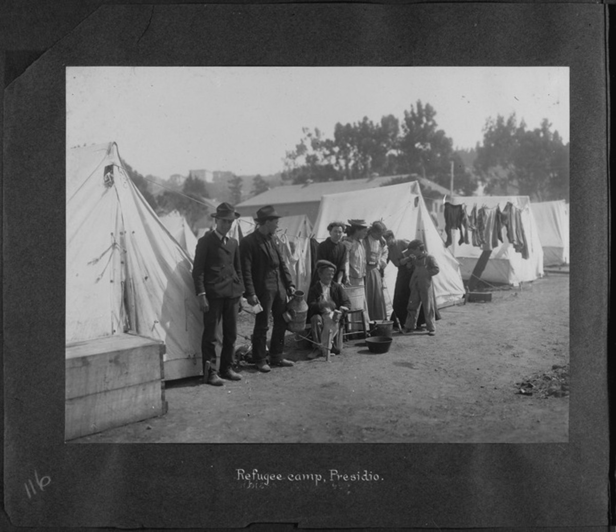 San Francisco Earthquake of 1906, Refugee camp, Presidio