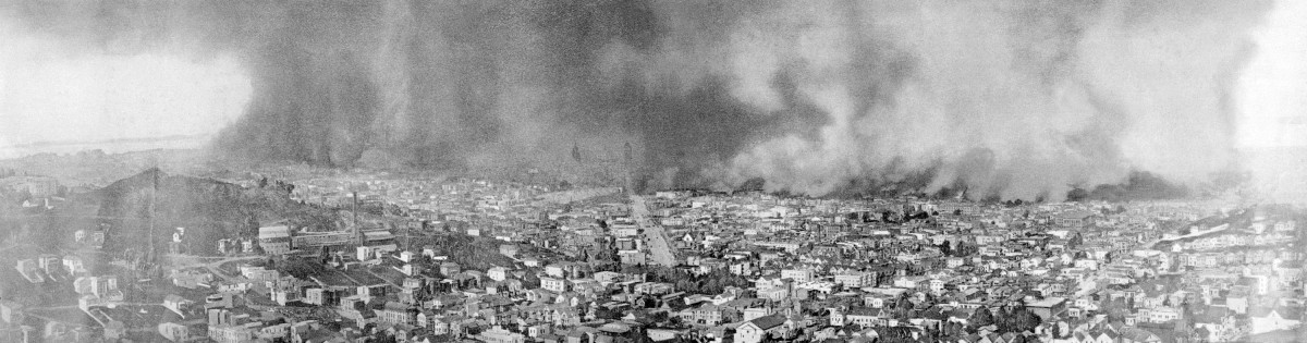 The burning of San Francisco. Reproduced from the only photograph that shows the entire scope and extent of this awful conflagration the worst in the history of the world.