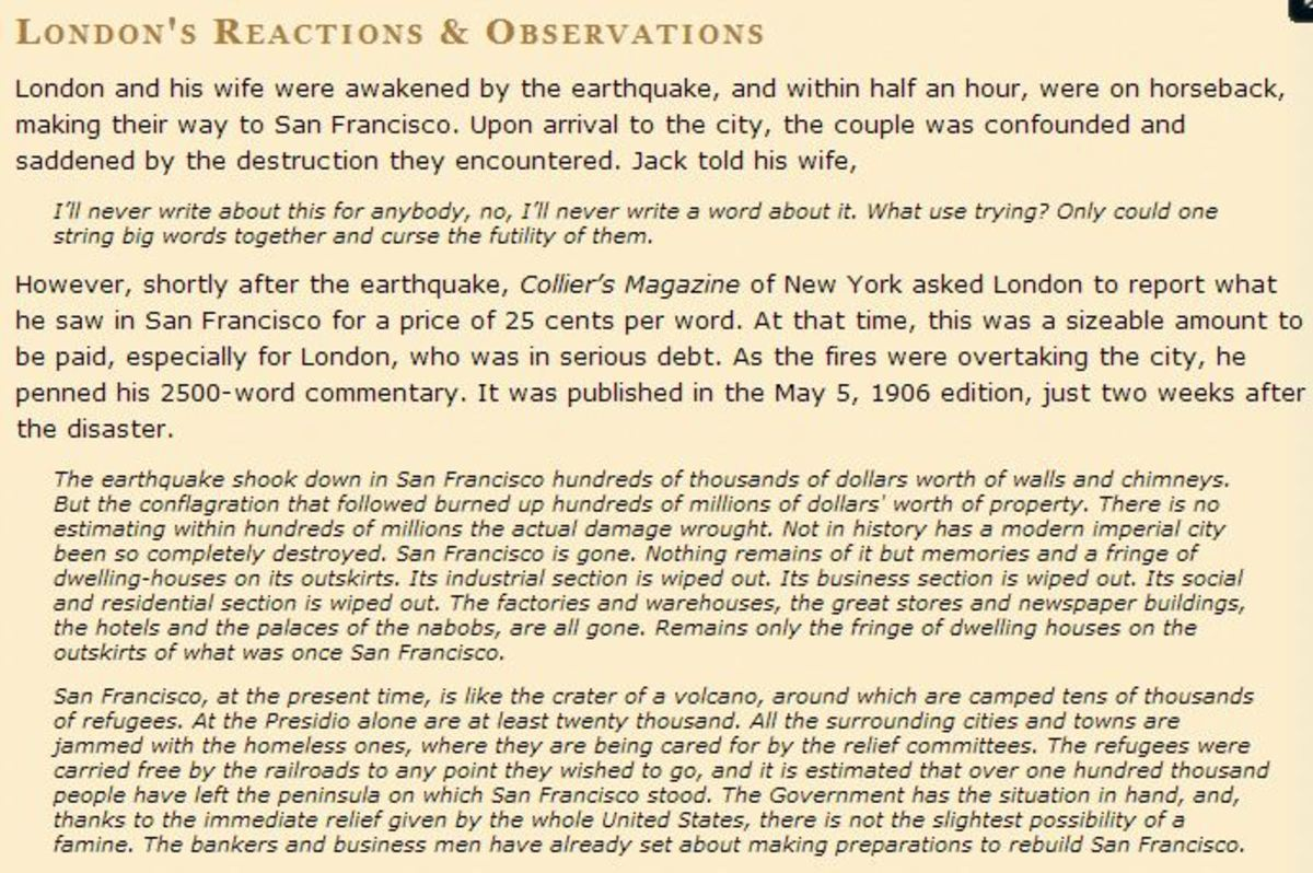 Eyewitness statement of Jack London
