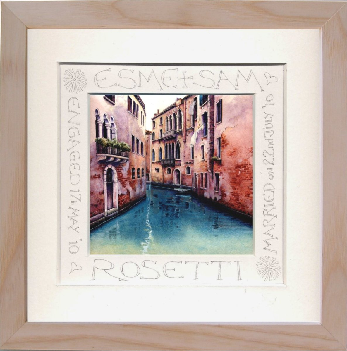 Framed Venice Canal Calligraphy Print by Helen Lush