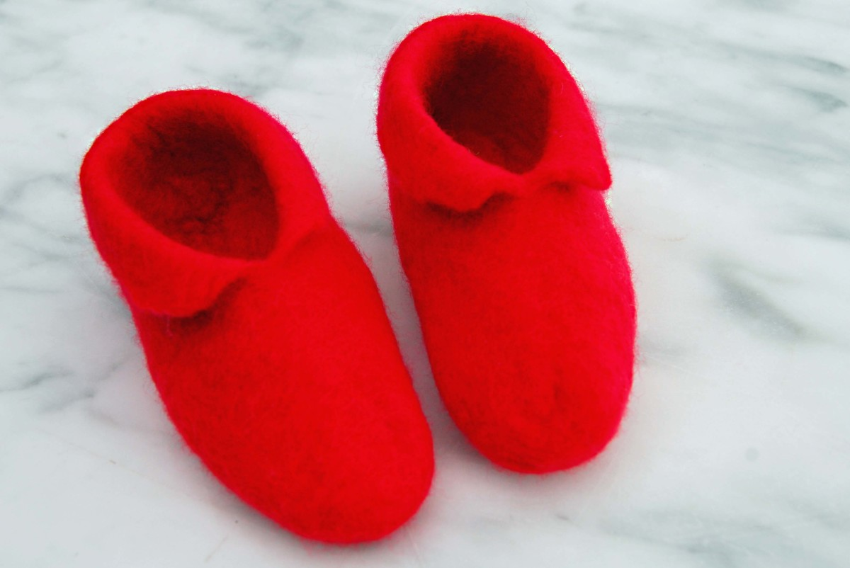 Red Wet Felted Booties
