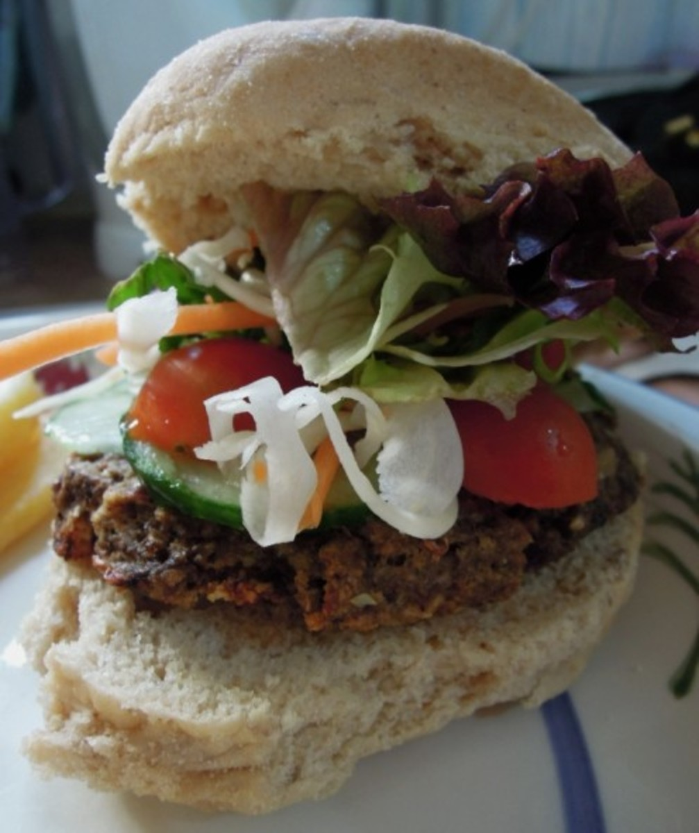 Free From Vegan Mushroom burger with salad.