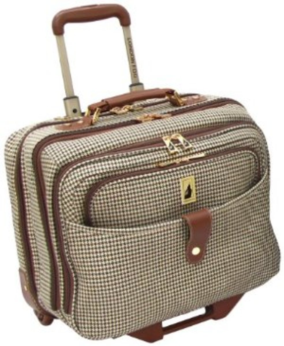 London Fog Chelsea 17 Inch Computer Bag, Olive Plaid