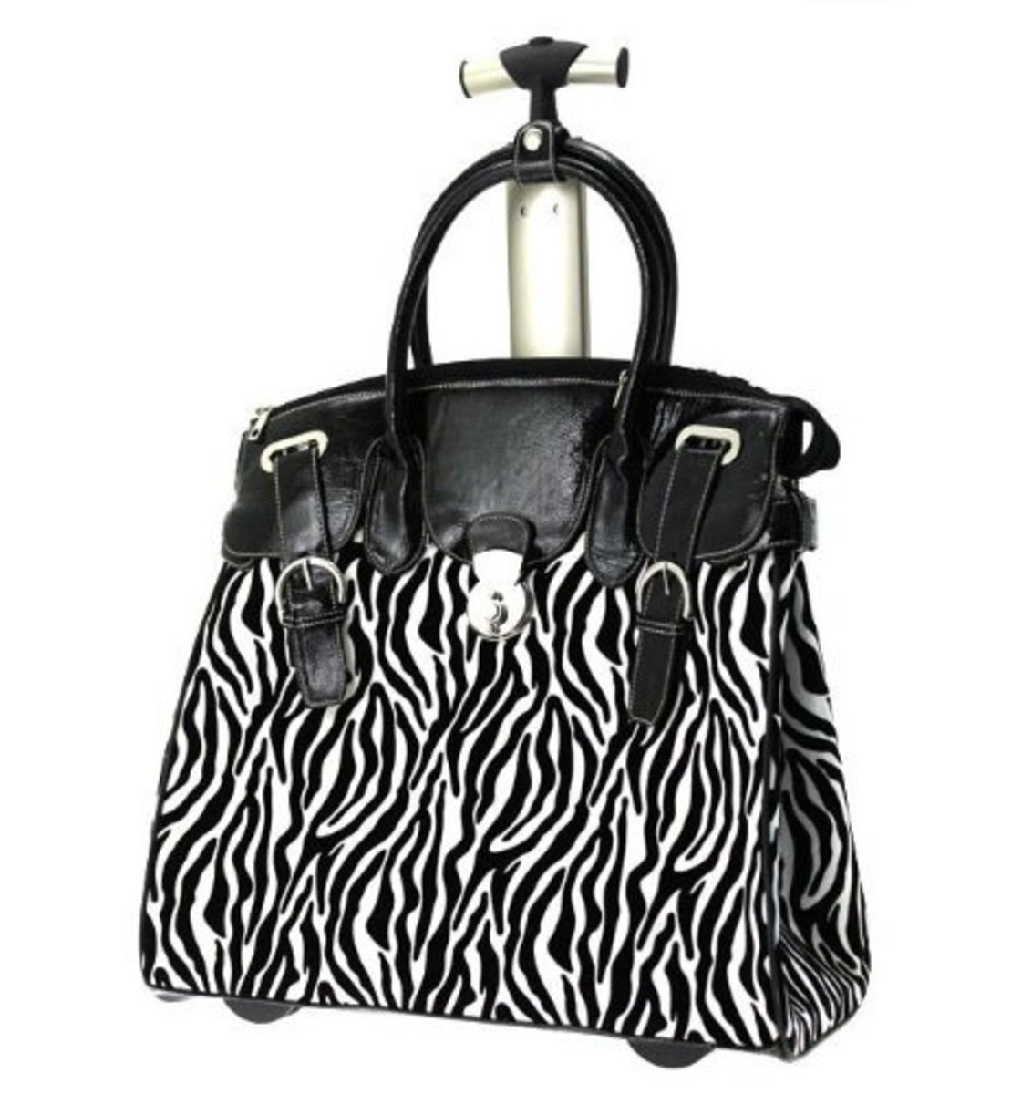 Ladies Zebra Black & White Rolling Laptop Carryall