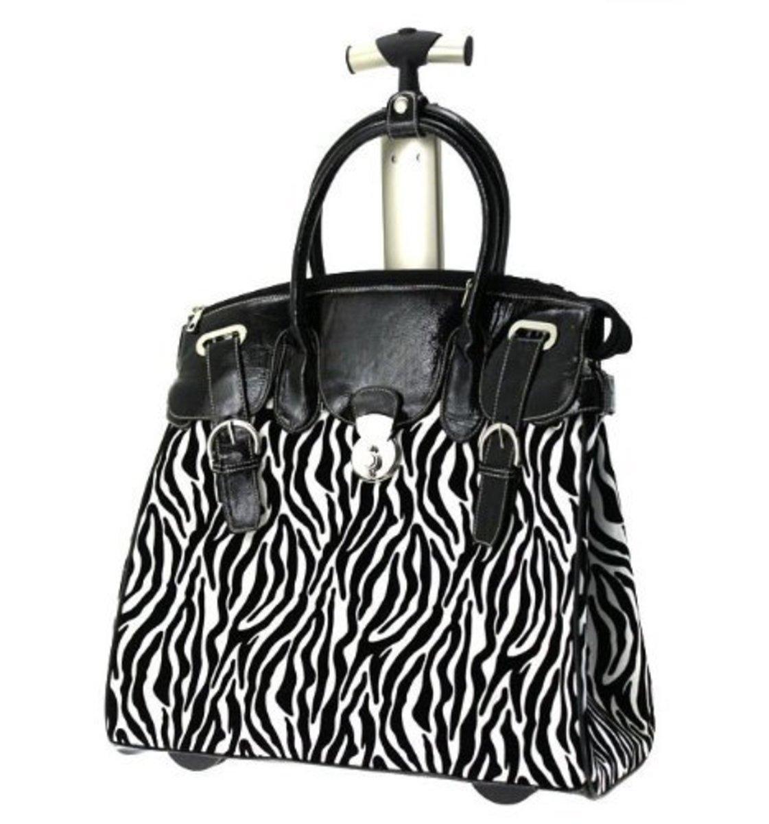 Ladies Zebra Black & White Rolling Laptop Carryall