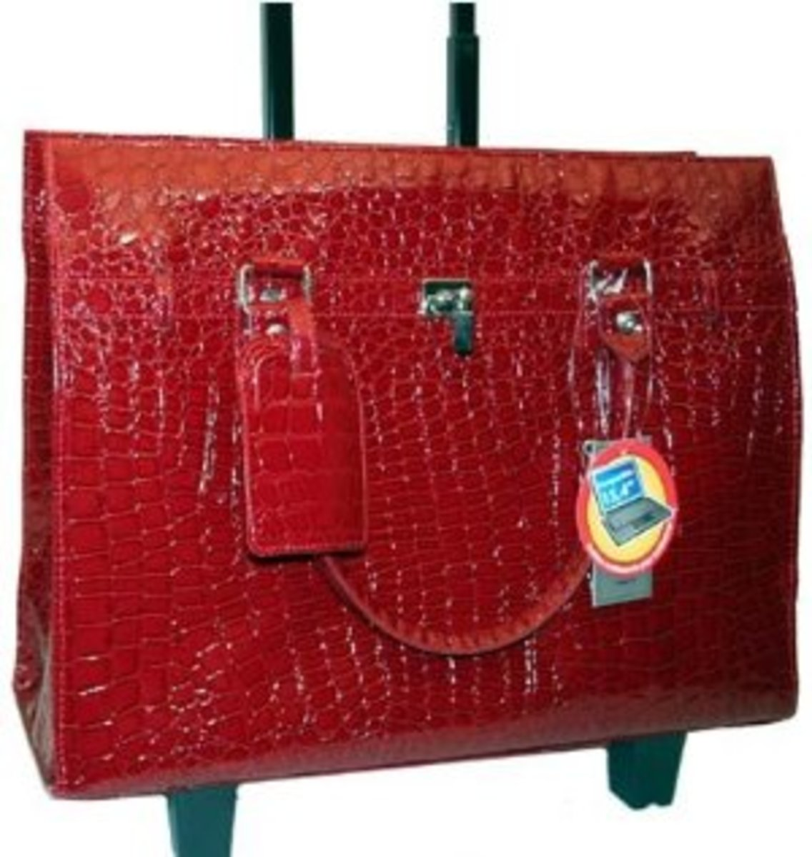 Bugatti Croco Embossed Rolling Briefcase Laptop - Women Red