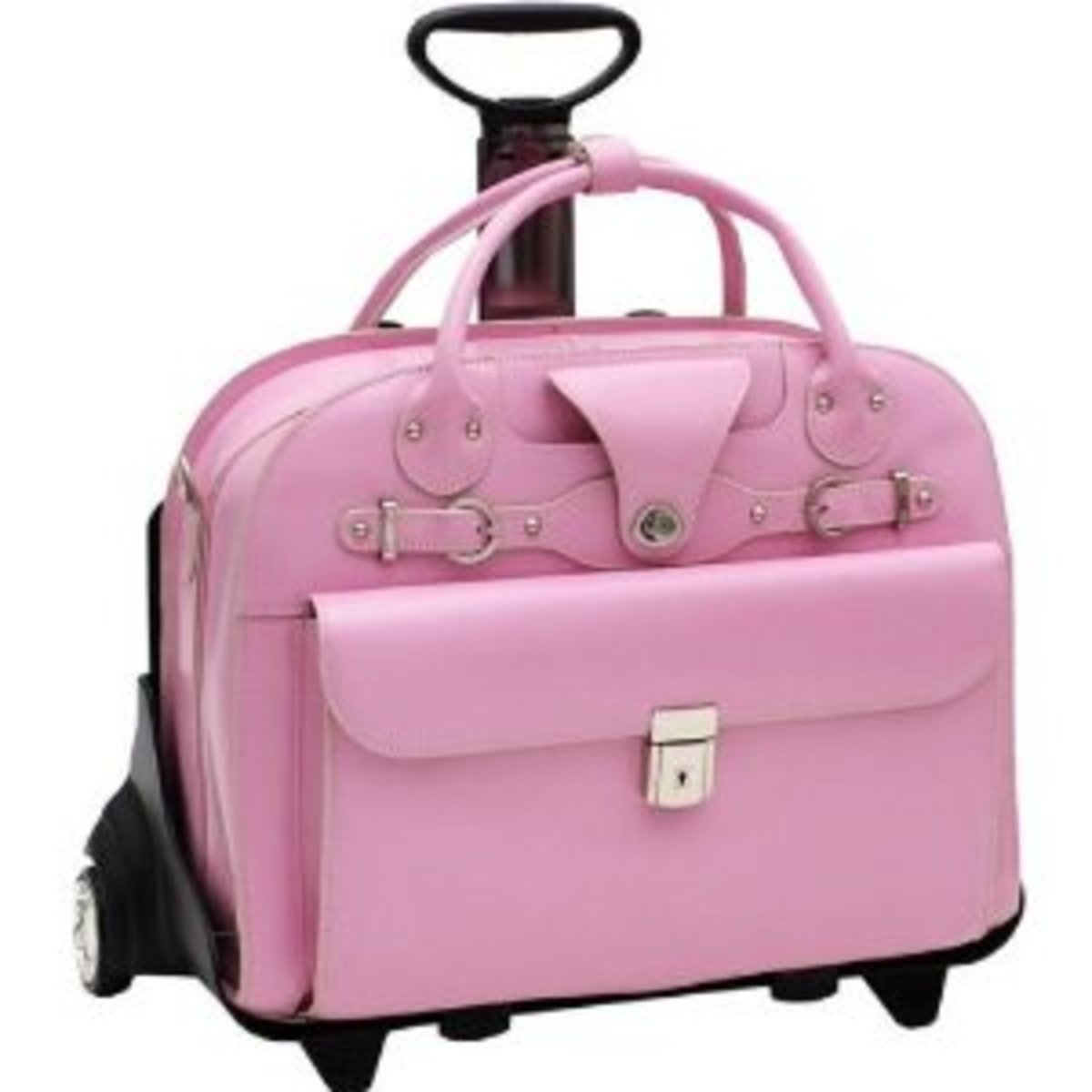 McKleinUSA ROSEVILLE Leather Fly-Through Checkpoint-Friendly Detachable-Wheeled Ladies Briefcase for Laptop, Pink (96649)