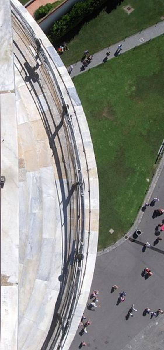 View looking down from the observation deck of the tower.