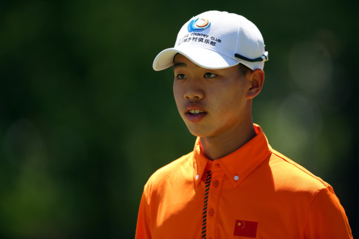 Tianlang Guan during the 2013 Masters