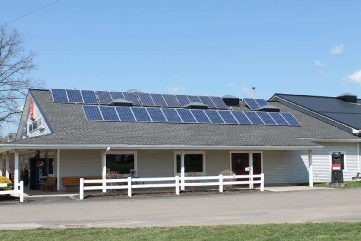 Solar Panels store electricity in a battery bank