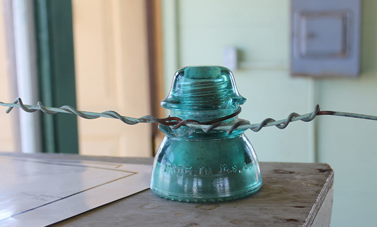 Glass insulators were used on power and telephone lines